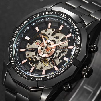Mens Top Brand Luxury Mechanical Male Wrist Watch Stylish Classic Black Watches Automatic Skeleton Man Clock relogio masculino