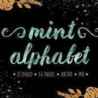 Mint Alphabet Clip Art. Mint Foil Letters, Numbers, Symbols. Hand Written Pastel Mint Wedding Font. Metallic Fancy Lettering Clipart.