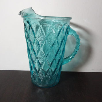 Vintage Aqua Blue or Turquoise Glass Pitcher with a Diamond Design - Retro/Atomic Design