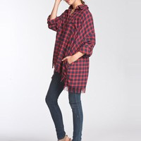 Fringe Flannel Top -  Navy and Red