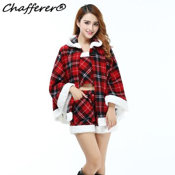 Chafferer Plaid Miss Santa Cosplay Uniforms Stage Party Activity Performance Christmas Costumes Bunny Women Sexy Lingerie Hot