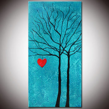 Abstract  Blue Tree Painting, Small Blue Art, Blue tree Art, Heart painting, Love Painting, Family painting, Ready to Hang, Fast shipping