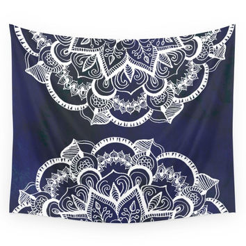 Society6 White Feather Mandala On Navy Wall Tapestry