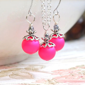 Fuchsia Swarovski Pearl Bridesmaid Jewelry Set Of Necklace Earrings, Hot Pink Bridesmaid Gift, Weddings Jewelry, Fuchsia Wedding Favors
