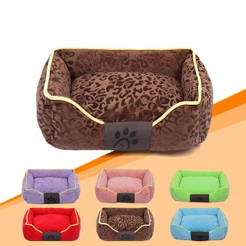 Printed Detachable Dog Bed Warming Pet House Soft PP Cotton Pets Nest Fall and Winter Puppy Cat Kennel For Small Dogs