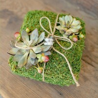Natural Moss Wedding Ring Pillow with by AprilHilerDesigns on Etsy
