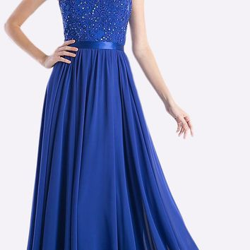 CLEARANCE - Sheer Neckline Floral Applique Sequin Evening Dress Royal Blue (Size XL)