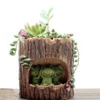 HEYFAIR Cartoon Frogs Cactus Succulent Planter Pot Container Gardens