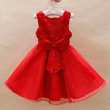 CHRISTMAS WEDDING BRIDAL BRIDESMAID ORGANZA KIDS 3D ROSE FLOWER GIRL DRESS = 1946286340
