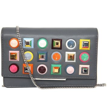 Fendi Mini Bag/Clutch Asphalt Gray Leather with Multicolor Studs 8M0346