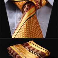 Classic Orange Yellow Silk Necktie Set