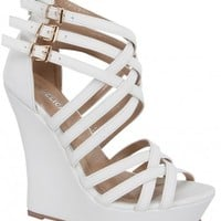 WHITE THREE BUCKLE CROSSED STRAP OPEN TOE WEDGE HEEL