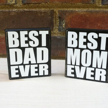 Best Dad Ever  Mini Distressed Wood  Block Motivational quote House ware Home Decor