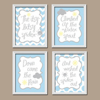 Itsy Bitsy Spider Wall Art Nursery Canvas Artwork Blue Gray Boy Child Cute Quote Crib  Song Print  Set of 4 Prints  Baby Decor