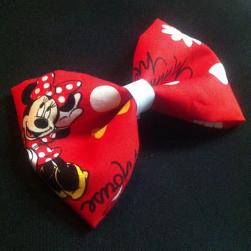 Red and white Minnie Mouse hair bow