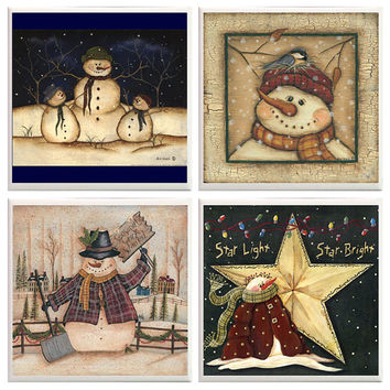 Snowmen Coasters, Snowman decor, Christmas Coasters, Holiday coasters, Winter decor, ceramic tiles,  Rustic Coasters, hostess gift, party
