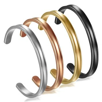 Boniskiss Gold Bangles Customized Jewelry Stainless Steel 6mm Women Cuff Bracelet Couple Bangle For Women
