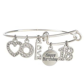 "AUGUAU ""18 Happy Birthday"" Expandable Engraved Charm Pendant Bangle Adjustable Bracelet, Comes With A Gift Box"