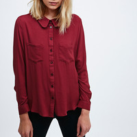 Cooperative Curved Collar Shirt in Burgundy - Urban Outfitters