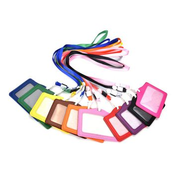 1PCS Candy Colors Name Credit Card Holders Women Men PU Bank Card Neck Strap Card Bus ID holders Identity badge with lanyard