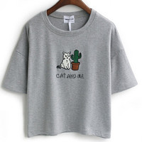 Print Cat Cactus Round Neck Loose Cotton Short Sleeve T-shirt