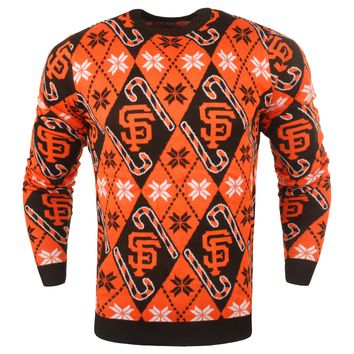 San Francisco Giants - Mens Official MLB Candy Cane Repeat Crew Neck Sweater