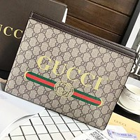 GUCCI New fashion stripe more letter leather cosmetic bag file package handbag Khaki
