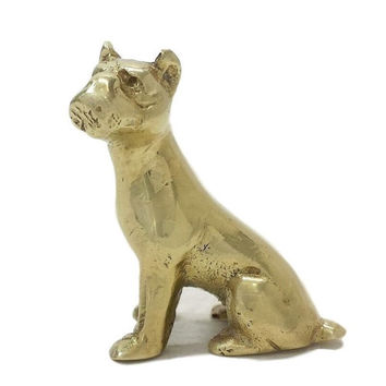 Vintage Brass Dog Figurine, Boxer, Pit Bull Terrier, Staffordshire, Bully Breed, Miniature Statue, Dog Lover Gifts, Paperweight