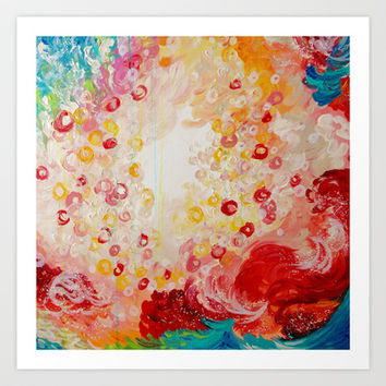 SUMMER DAYS Feminine Pretty Pink Red Peach Abstract Acrylic Painting Whismical Nature Color Splash Art Print by EbiEmporium
