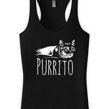 Funny Cat Tank Purrito Funny Cat Gifts Kitty Tops Kitten Clothing Mexican Food American Apparel Racerback Tank Joke Ladies Tank WT-316