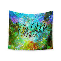 "Ebi Emporium ""Fly Me To The Moon"" Green Blue Wall Tapestry"