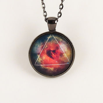 Galaxy Triangle Necklace, Hipster Nebula Jewelry, Geometric Star Pendant .
