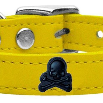 Skull Widget Genuine Leather Dog Collar Yellow 16