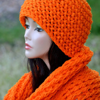 Orange Hat and Neck Warmer set. Crochet hat and Scarf, Neck Warmer