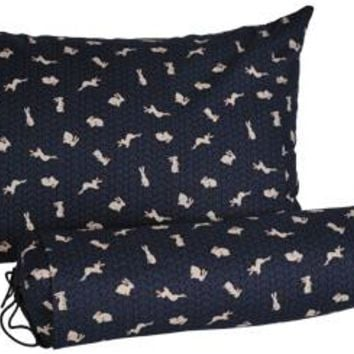 J-Life Usagi Navy Buckwheat Hull Pillow