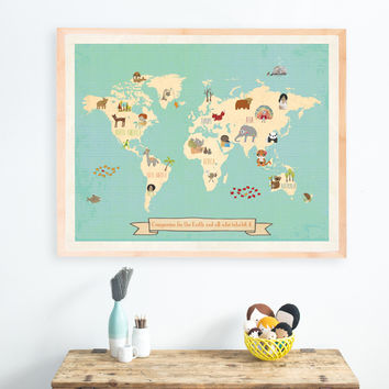 Global Compassion Map, Canvas or Print