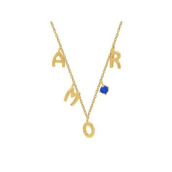 """Silver Gold Plated """"AMOUR"""" Letters  Blue Stone Necklace 16""""+ 2"""""""