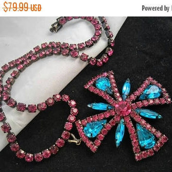 On Sale Aqua & Hot Pink Rhinestone Necklace - Vintage Maltese Cross Pendant Necklace - High End Rare Hard To Find Collectible Jewelry