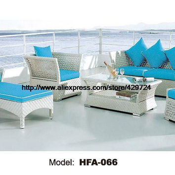 Luxury Modern Design Large Outoodr Sofa Set PE Rattan Blue Cushions Sofa Chair Ottoman Lying Chair Chaise Longue Furntiure Set