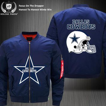 Dropshipping USA Size Men MA-1 Jacket Football Team Dallas Cowboys Flight Jacket Costume Design Printed Bomber Jacket made