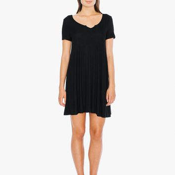 2x2 Rib Short Sleeve 'Easy' Mini Dress | American Apparel