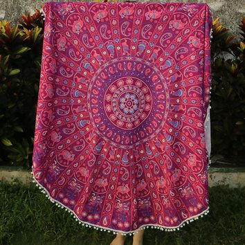 Special Round Indian Elephant Towel scarve Fashion Mandala Tapestry Beach Picnic Throw Rug Blanket Polyester Cotton Beach Towel