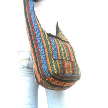 Woven Sling Bag Ethnic Boho Bag Hobo Bag Hippie Bag Cotton Crossbody Shoulder Bag Messenger Bag Diaper Bag Casual Handbags  Everyday Bag
