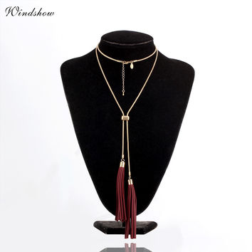 Leather Fringe Tassel Neklaces & Pendants Statement Long Necklace Women Gold White Color Vintage Snake Chain Body Jewelry BOHO