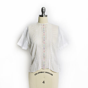 Vintage 50s Blouse - White Cotton Sheer Embroidered Peasant Top 1950s - Small S