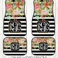 Monogram Car Mats-Car Accessories-Car Mats-Personalized Car Mats-Monograms-Stripe Watercolor Flowers