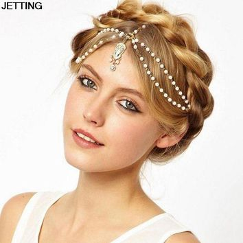 LMFN3C Hot Sale Wedding Hair Band Head Dress Headbands Indian Boho White Beaded Head Piece Women Head Chain