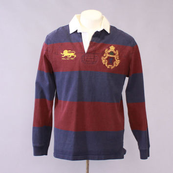 Vintage 90s POLO SHIRT / 1990s Ralph Lauren Rugby Stripe Embroidered Lion Crest Pullover M
