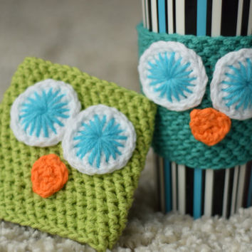 Teal Green, Blue-Eyed Owl Cup Cozy (Other colors available upon request)