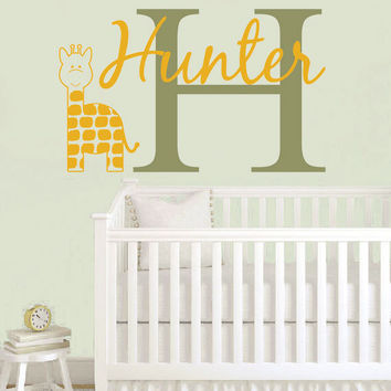 Personalized Jungle Wall Decal - Giraffe Wall Decal Initial & Name for Boy Baby Nursery Toddler Teen Room 22H x 36W BN007